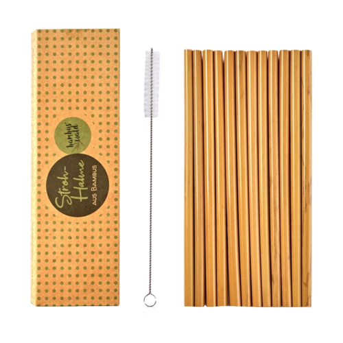 Bamboo straws including brush