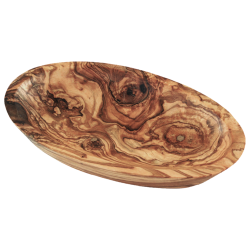 Olive wood bowl, oval, 15 cm